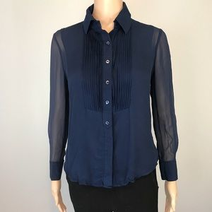 Vince Navy Blue Womens Sheer Collar Blouse